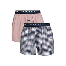 Buy BOSS Check Cotton Boxer Shorts, Pack of 2, Red/White Online at johnlewis.com