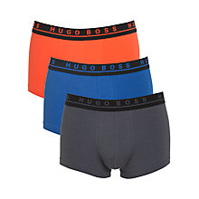 Buy BOSS Solid Tone Cotton Trunks, Pack of 3, Orange/Blue/Grey Online at johnlewis.com