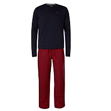 Buy Tommy Hilfiger Nugo Pyjamas, Sky Captain/Jester Red Online at johnlewis.com