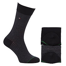 Buy Tommy Hilfiger Small Stripe Socks, Pack of 2, Black Online at johnlewis.com