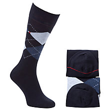 Buy Tommy Hilfiger Check Argyle Socks, Pack of 2, Dark Navy Online at johnlewis.com
