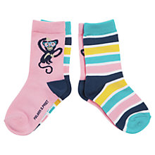 Buy Polarn O. Pyret Monkey Socks, Pack of 2, Pink/Multi Online at johnlewis.com