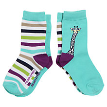 Buy Polarn O. Pyret Giraffe Socks, Pack of 2, Turquoise/Multi Online at johnlewis.com