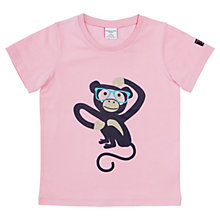 Buy Polarn O. Pyret Girls' Monkey Print T-Shirt, Pink Online at johnlewis.com
