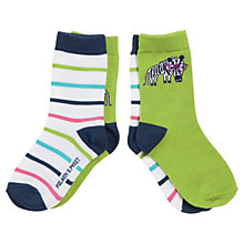 Buy Polarn O. Pyret Baby Zebra Socks, Pack of 2, Green/Multi Online at johnlewis.com
