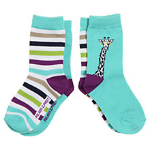 Buy Polarn O. Pyret Baby Giraffe Socks, Pack of 2, Turquoise/Multi Online at johnlewis.com