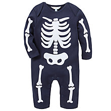 Buy John Lewis Halloween Skeleton Sleepsuit, Blue Online at johnlewis.com
