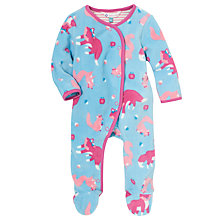 Buy John Lewis Baby Fox and Squirrel Fleece Sleepsuit, Blue/Pink Online at johnlewis.com