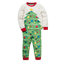 Buy John Lewis Christmas Tree Pyjamas, Green/Red Online at johnlewis.com