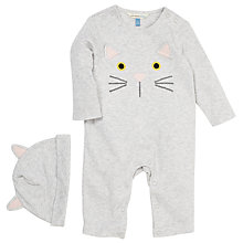 Buy John Lewis Cat Face Sleepsuit, Grey Online at johnlewis.com
