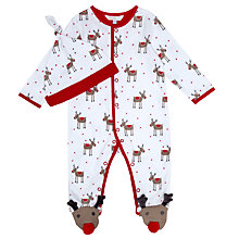 Buy John Lewis Reindeer Print Sleepsuit & Hat, White Online at johnlewis.com