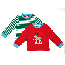 Buy John Lewis Sledging Reindeer Pyjamas, Pack of 2, Red/Green Online at johnlewis.com