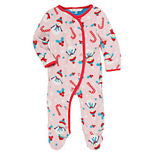 Buy John Lewis Snowgirl Fleece Sleepsuit, Pink Online at johnlewis.com