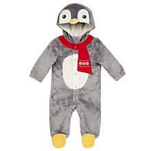 Buy John Lewis Novelty Penguin Bodysuit, Grey Online at johnlewis.com