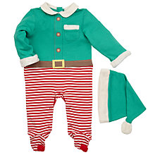Buy John Lewis Novelty Elf Sleepsuit, Green/Red Online at johnlewis.com