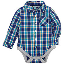 Buy John Lewis Baby Check Shirt Bodysuit, Blue Online at johnlewis.com