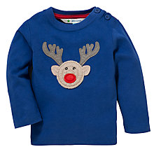 Buy John Lewis Reindeer Applique T-Shirt, Blue Online at johnlewis.com