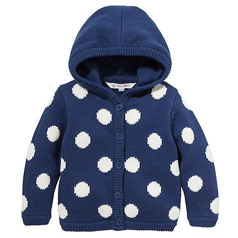 Buy John Lewis Spot Hooded Cardigan, Navy/White Online at johnlewis.com