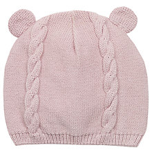 Buy John Lewis Knit Bear Ears Hat, Pink Online at johnlewis.com