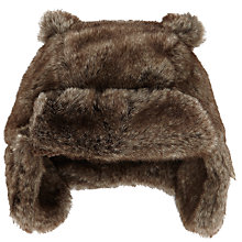 Buy John Lewis Furry Trapper Hat, Brown Online at johnlewis.com