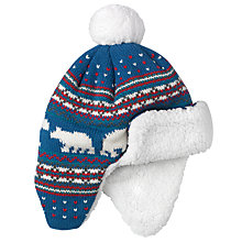 Buy John Lewis Polar Bear Trapper Hat, Blue Online at johnlewis.com