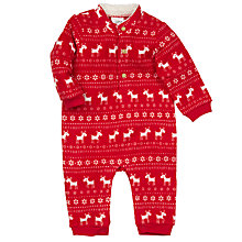 Buy John Lewis Fleece Reindeer Sleepsuit, Red Online at johnlewis.com