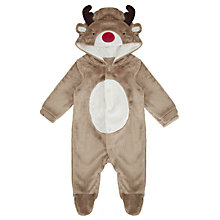Buy John Lewis Reindeer Hood Onesie, Brown Online at johnlewis.com