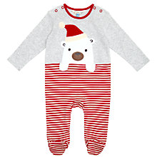 Buy John Lewis Christmas Bear Motif Sleepsuit, Grey/Red Online at johnlewis.com