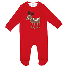 Buy John Lewis Reindeer Applique Sleepsuit, Red Online at johnlewis.com