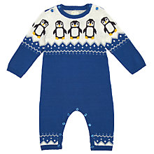 Buy John Lewis Penguin Intarsia Knit Romper, Blue Online at johnlewis.com