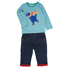 Buy John Lewis Skating Dino Jean Set, Blue/Grey Online at johnlewis.com