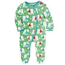 Buy John Lewis Polar Bear Fleece Sleepsuit, Green Online at johnlewis.com