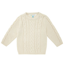 Buy John Lewis Aran Knitted Crewneck Jumper, Cream Online at johnlewis.com