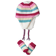 Buy John Lewis Stripe Knit Hat & Mitts Set, Multi Online at johnlewis.com