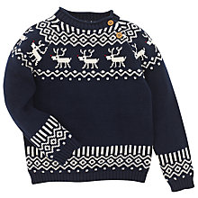 Buy John Lewis Reindeer Fair Isle Knited Jumper, Navy Online at johnlewis.com