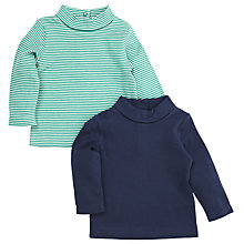 Buy John Lewis Roll Neck Long Sleeve Top, Pack of 2, Navy/Green Online at johnlewis.com