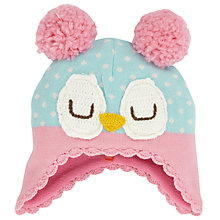 Buy John Lewis Owl Trapper Hat, Blue/Pink Online at johnlewis.com