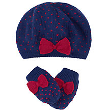 Buy John Lewis Knit Beret & Mittens Set, Navy Online at johnlewis.com