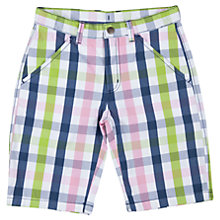 Buy Polarn O. Pyret Boys' Multi Check Shorts, White/Multi Online at johnlewis.com