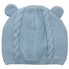 Buy John Lewis Knitted Bear Hat, Blue Online at johnlewis.com