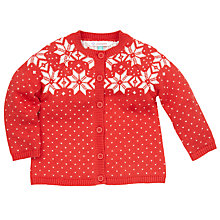 Buy John Lewis Knitted Fair Isle Cardigan, Orange Online at johnlewis.com