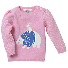 Buy John Lewis Polar Bear Intarsia Knit Jumper, Pink Online at johnlewis.com