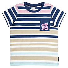 Buy Polarn O. Pyret 'Sunny Surf' Stripe Cotton T-Shirt, Blue/Multi Online at johnlewis.com