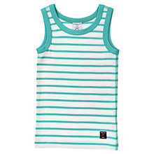Buy Polarn O. Pyret Stripe Cotton Vest Top, Turquoise Online at johnlewis.com