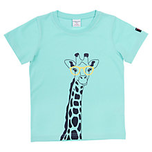 Buy Polarn O. Pyret Giraffe Print T-Shirt, Turquoise Online at johnlewis.com