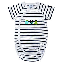 Buy Polarn O. Pyret Baby Stripe Ladybug Bodysuit, Blue/White Online at johnlewis.com