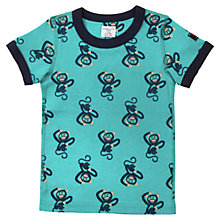 Buy Polarn O. Pyret Monkey Print Cotton T-Shirt, Blue Online at johnlewis.com