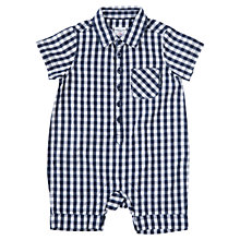 Buy Polarn O. Pyret Baby Check Cotton Romper, Blue Online at johnlewis.com