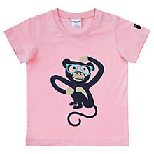 Buy Polarn O. Pyret Baby Monkey Print T-Shirt, Pink Online at johnlewis.com