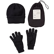 Buy John Lewis Hat and Glove Set, Black Online at johnlewis.com